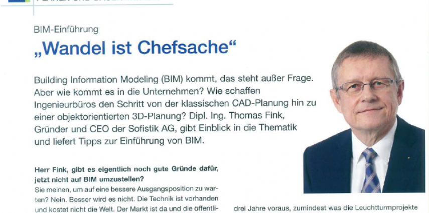 Interview in Beratende Ingenieure 7/8 2016